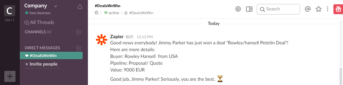 DealsWeWin Channel on Slack