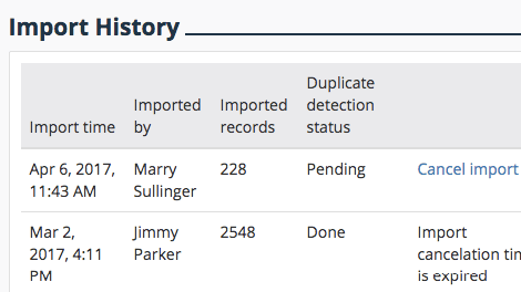 Import Data History