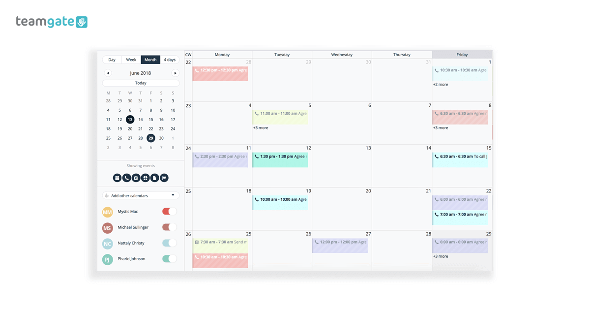 CRM Software Calendar Teamgate